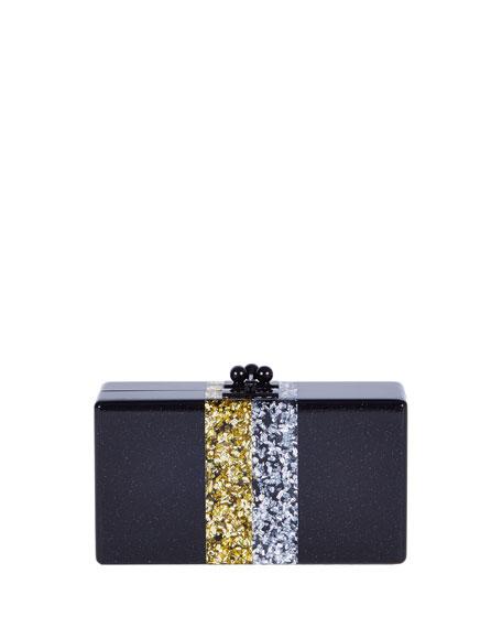 Jean Vintage Stripe Clutch Bag, Obsidian/Sand