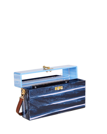 Half-and-Half Large Trunk Bag, Light Blue Marble