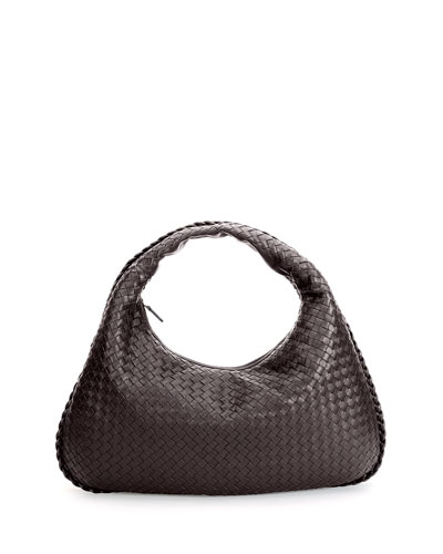 Veneta Large Woven Hobo Bag, Dark Brown