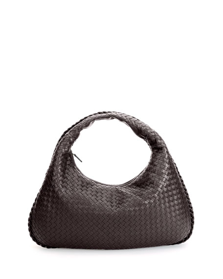Veneta Intrecciato Large Hobo Bag, Dark Brown