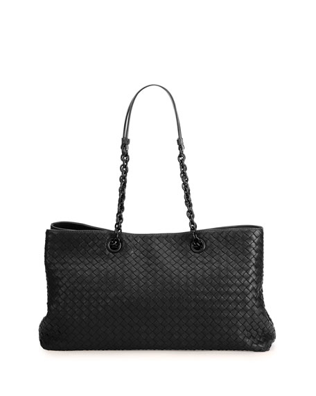 Bottega Veneta Intrecciato Double Chain Tote Bag, Black