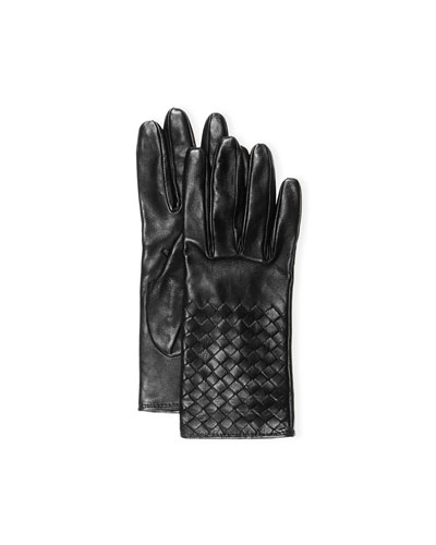 Intrecciato Napa Short Gloves, Black