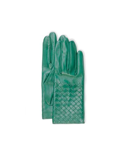 Intrecciato Napa Short Gloves, Kelly Green