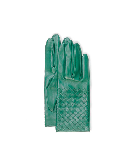 Intrecciato Napa Short Gloves, Kelly Green