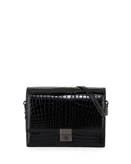 Bottega Veneta Crocodile 3/4-Flap Shoulder Bag, Black