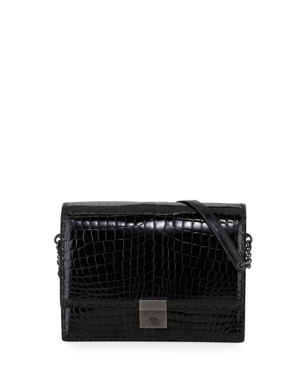 d7f53abce0826 Bottega Veneta Crocodile 3 4-Flap Shoulder Bag