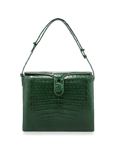 Crocodile Small Knot Shoulder Bag, Green Matte