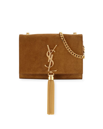 Monogramme Small Suede Tassel Crossbody Bag, Camel