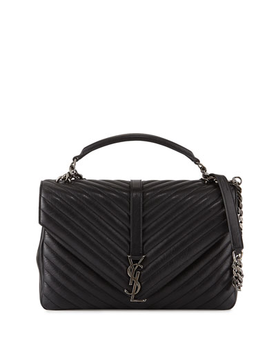 Monogramme College Large Chain Satchel Bag, Black