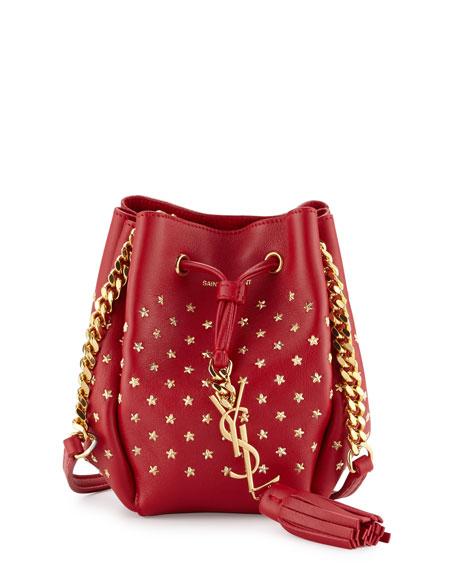 Saint Laurent Monogram Small Star Studded Bucket Bag, Red