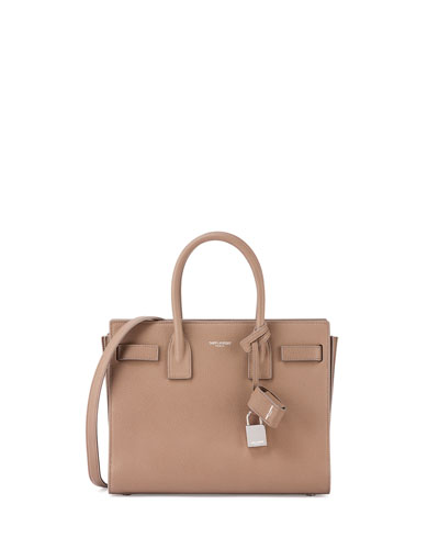 Sac de Jour Baby Grain Leather Tote Bag, Taupe