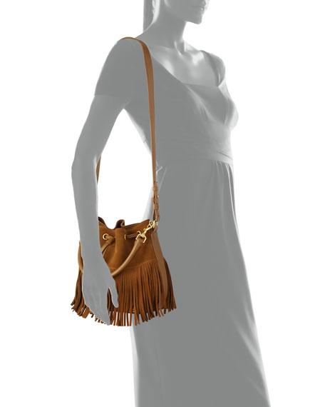 Emmanuelle Small Suede Fringe Bucket Bag, Black