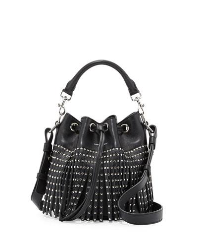 Emmanuel Small Star-Studded Fringe Bucket Bag, Black