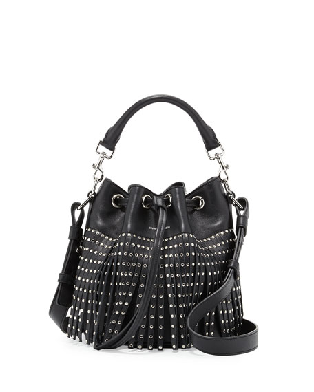 Saint Laurent Emmanuel Small Studded Fringe Bucket Bag, Black