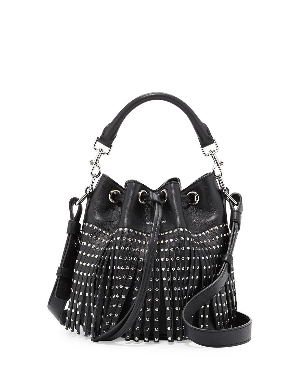 82bddca601 Saint Lau Emmanuel Small Studded Fringe Bucket Bag Black