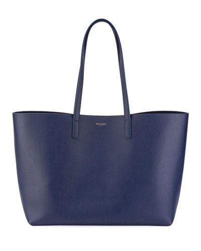 Large East-West Leather Shopper Bag, Black
