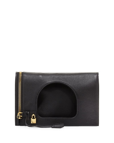 Alix Small Leather Padlock & Zip Shoulder Bag, Black