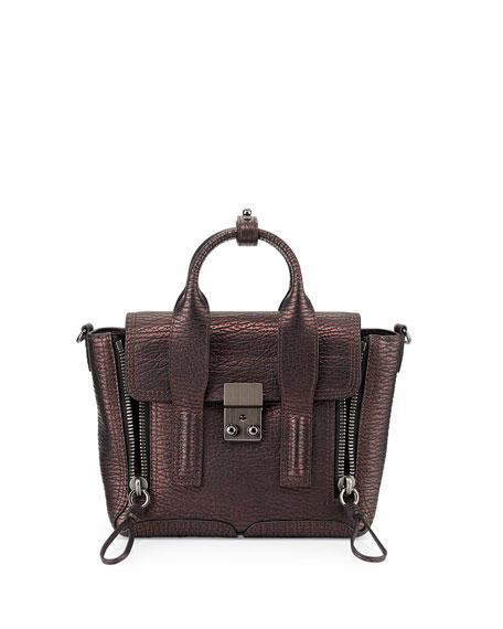 Pashli Mini Zip Satchel Bag, Black/Bronze