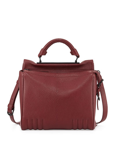 Ryder Small Leather Satchel Bag, Burgundy