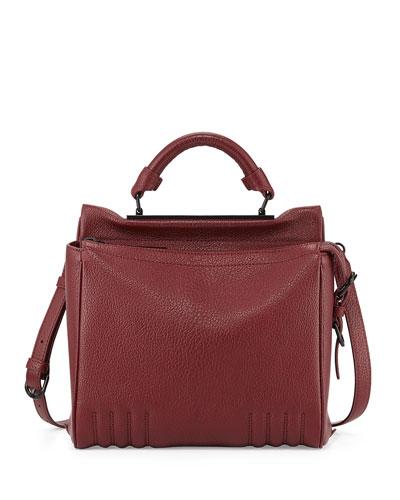 Ryder Small Leather Satchel Bag, Burgundy