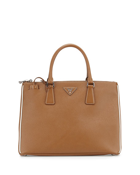 Prada Saffiano Lux Tote Bag, Camel/White (Cannella/Talco)