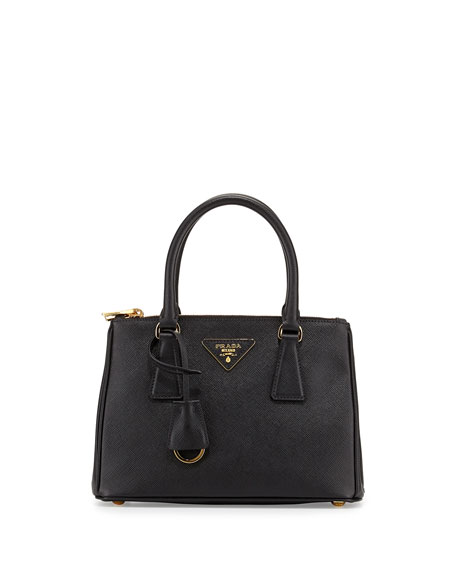 Prada Saffiano Mini Double-Zip Tote Bag, Black (Nero)