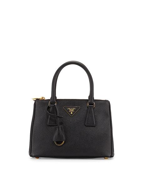 5b6f7601dfaa ... clearance prada saffiano mini double zip tote bag black nero 08d81 e9dc6