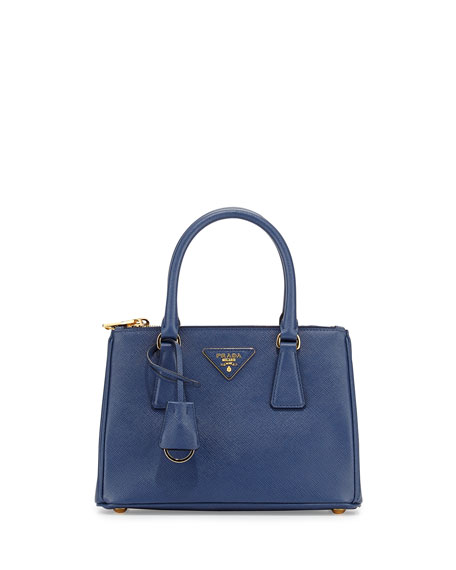Prada Saffiano Mini Double-Zip Tote Bag, Blue (Bluette)