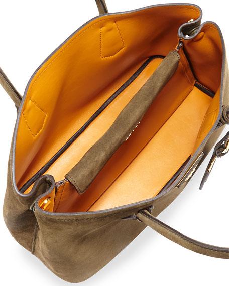 prada handbags prices - Prada Suede Small Tote Bag, Army Green/Tan (Militare/Ocra)