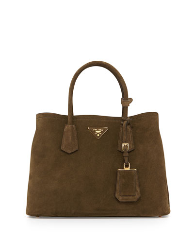 Suede Small Tote Bag, Army Green/Tan (Militare/Ocra)