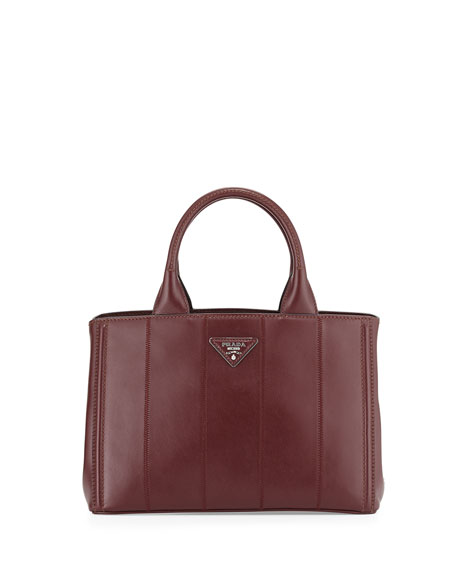 Prada Soft Calfskin Small Garden Bag, Bordeaux
