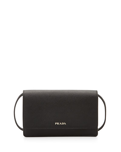 Saffiano Lux Mini Crossbody Bag, Black