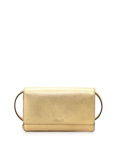 Prada Saffiano Lux Mini Crossbody Bag, Gold (Platino)