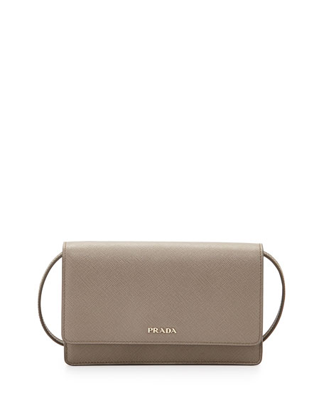 Prada Saffiano Lux Mini Crossbody Bag, Gray (Argilla)