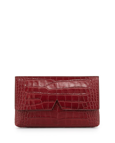 Signature V Croc-Embossed Clutch Bag, Bordeaux