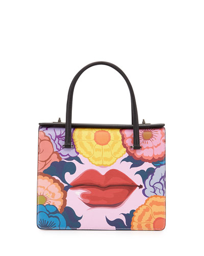 Saffiano Print Lips Satchel Bag, Multi (Rosso Dis Lips)