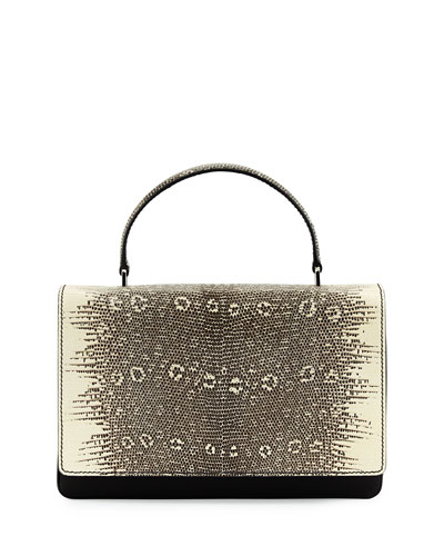Tessuto & Lucertola Flap Shoulder Bag, Black/White (Nero+Roccia)