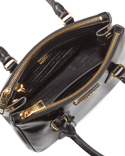 prada cross body bags leather - PRADA Saffiano Vernice Mini Double-Zip Tote Bag, Black (Nero)