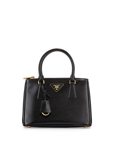 Saffiano Vernice Mini Double-Zip Tote Bag, Black (Nero)