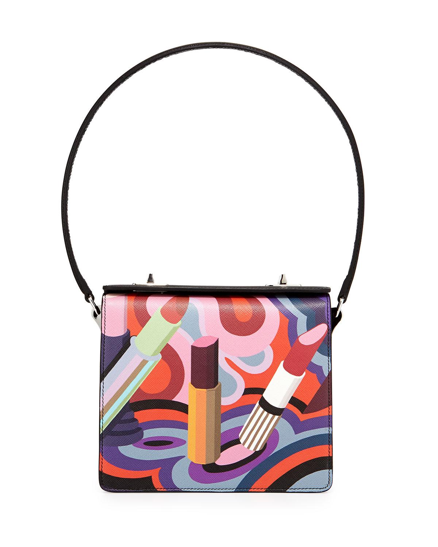 1e25b167476a01 Prada Saffiano Print Lipstick Shoulder Bag, Black/Multi (Nero ...