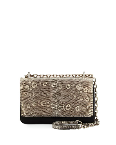 Tessuto & Lucertola Medium Chain Shoulder Bag, Black/White (Nero+Roccia)