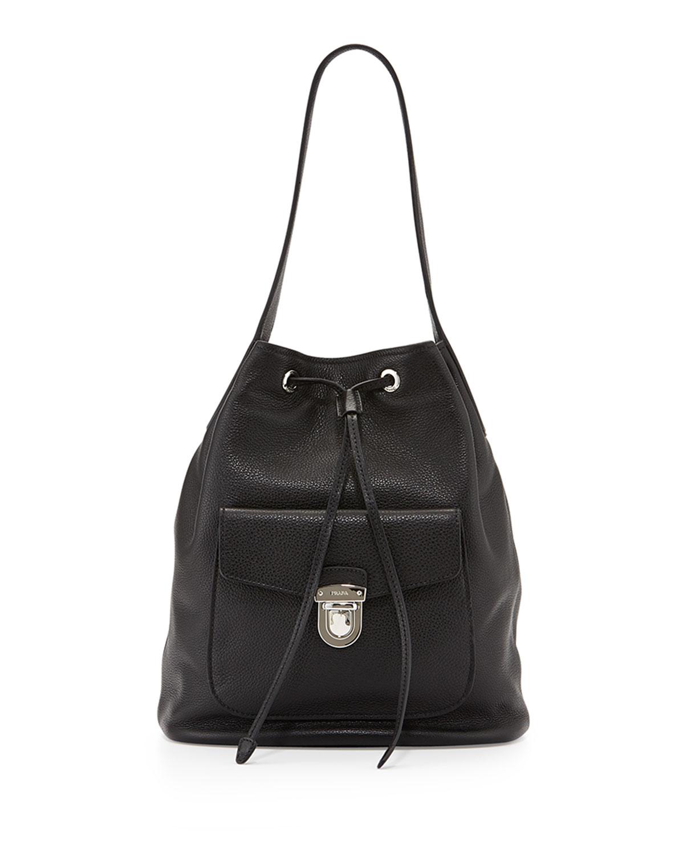 Vitello Daino Bucket Bag, Black (Nero)