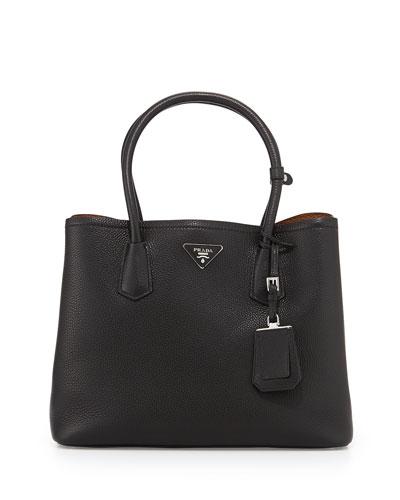Vitello Daino Medium Double Bag, Black/Tan (Nero+Cuoio)