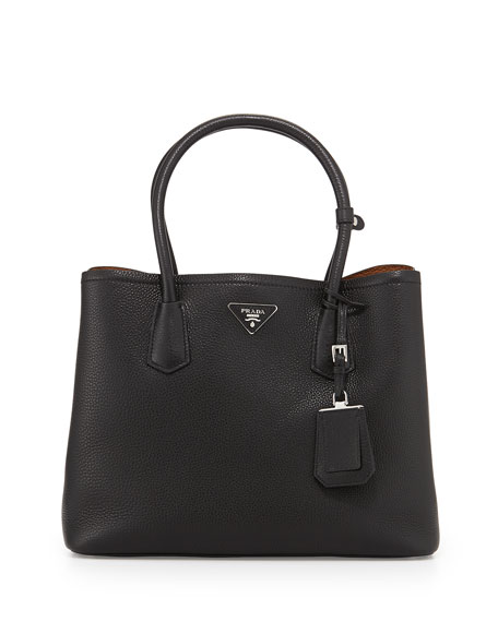 Prada Vitello Daino Medium Double Bag, Black/Tan (Nero+Cuoio)