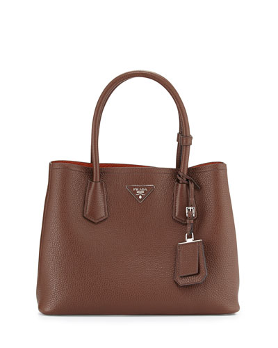 Vitello Daino Small Double Bag, Brown/Tan (Bruciato/Rame)