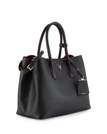 fbad6a2aaef2 ... wholesale prada saffiano cuir medium double handle tote bag black red  nerociliegia neiman marcus 26da4 09619