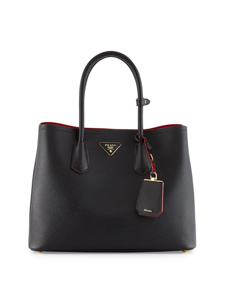 prada bag purple - Prada Saffiano Cuir Medium Double-Handle Tote Bag, Black/Red (Nero ...