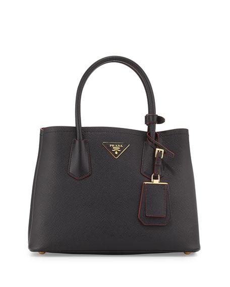 Prada Saffiano Cuir Double Bag, Black/Red (Nero+Ciliegia)