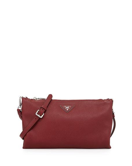 Vitello Daino Crossbody Bag, Burgundy (Cerise)