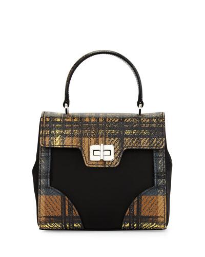Tessuto & Saffiano Stampato Tote Bag, Camel Multi (Cammello Dis Tartan)